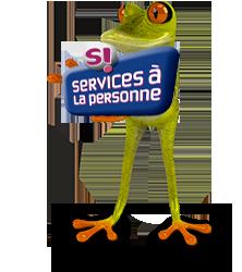 Grenouille avec pancarte service à la personne